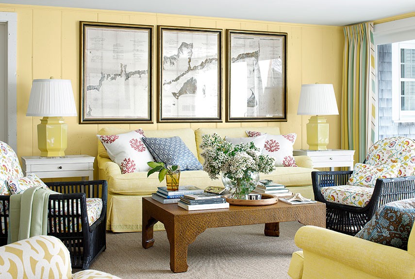 Cape Cod House Interior Design Ideas Part - 29: Yellow Sofa A Sunshine Piece For Your Living Room. Living Room Luxury  Decorating ...