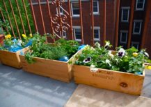 A-blooming-green-balcony-garden-created-with-wooden-planter-box--217x155