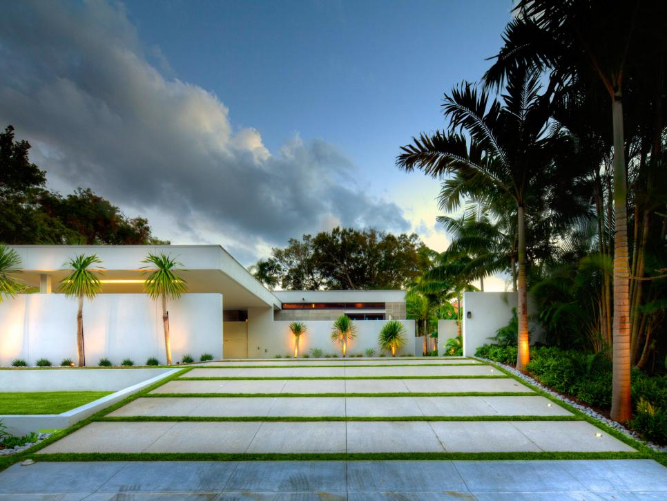 A-modern-driveway-surrounded-by-palm-trees