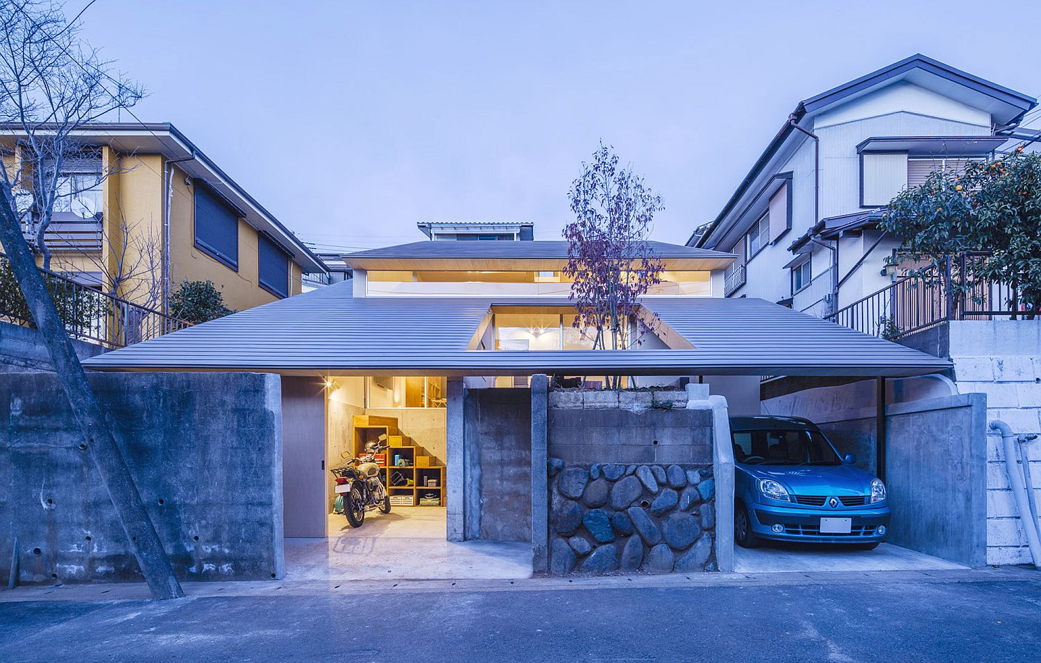 Chic Japanese House Integrates Old Retaining Wall With
