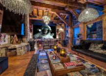 Awesome living room of the French ski chalet is perfect for entertaining 217x155 Alpine World of Unparalleled Luxury: Stunning Chalet Marco Polo in Val d'Isère