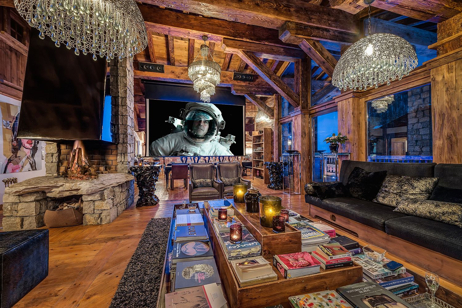 Awesome living room of the French ski chalet is perfect for entertaining