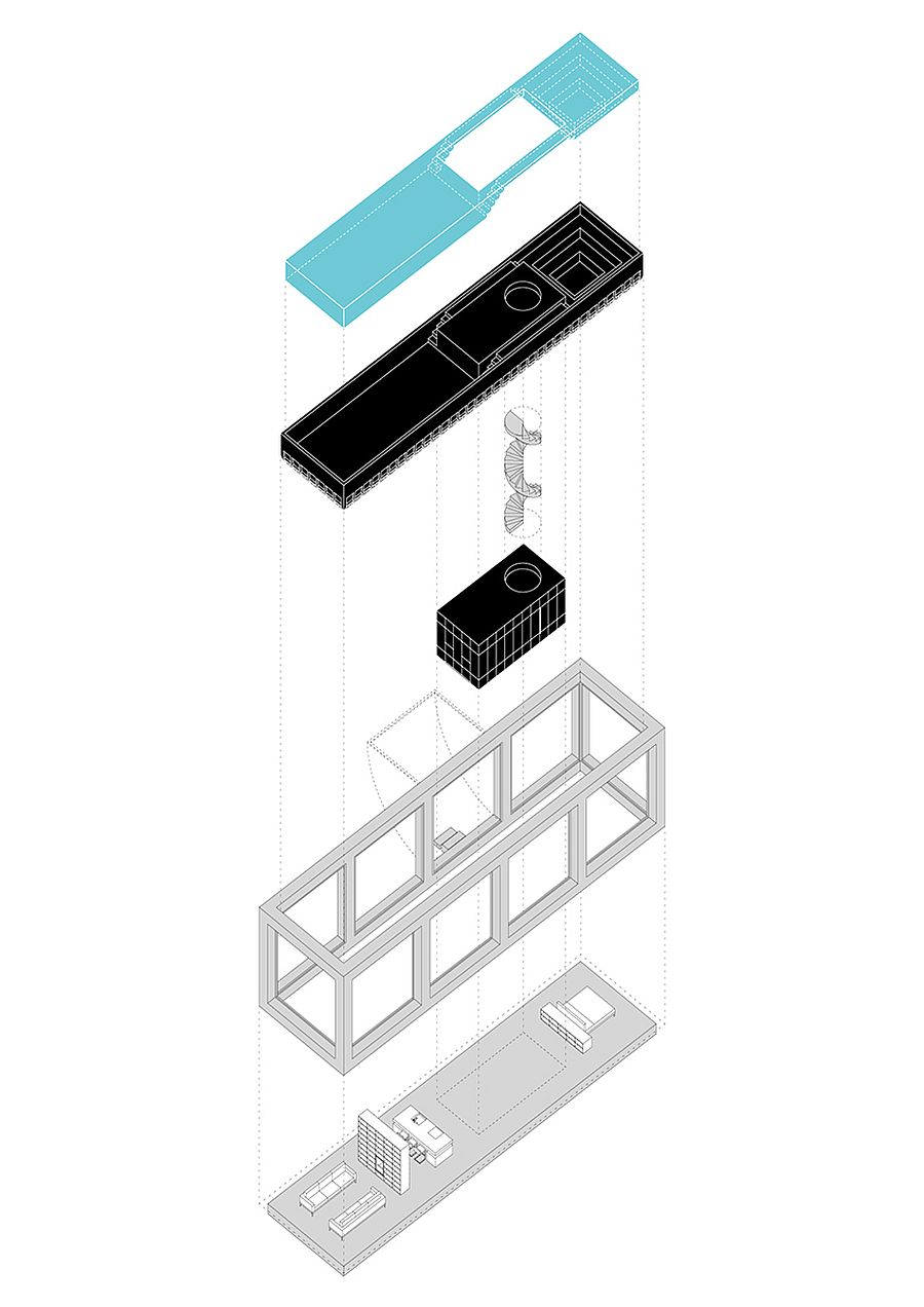 Axonometric scheme of the Infinity House