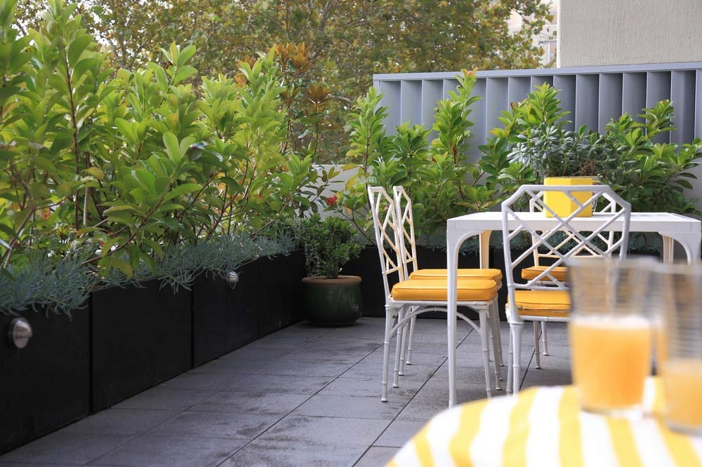 Balcony garden that secures the space's privacy