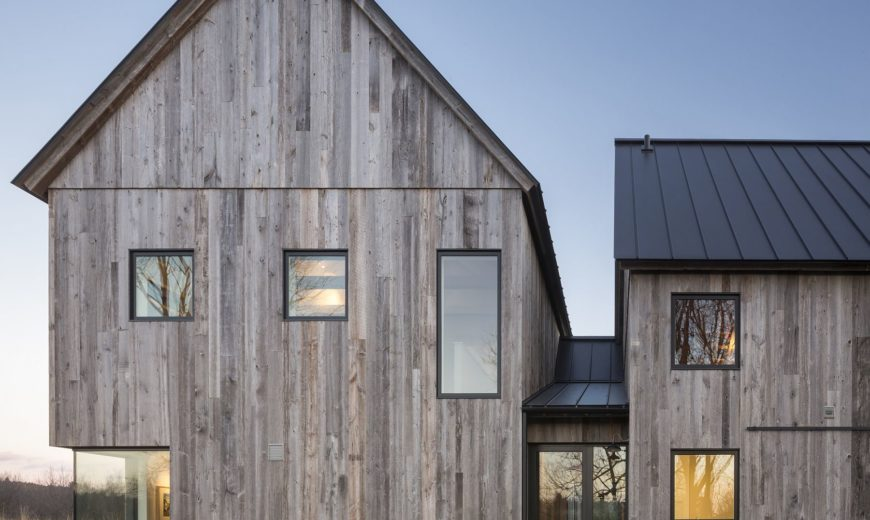 Townships Farmhouse in Quebec Embraces Modernity Wrapped in Rustic Sheen