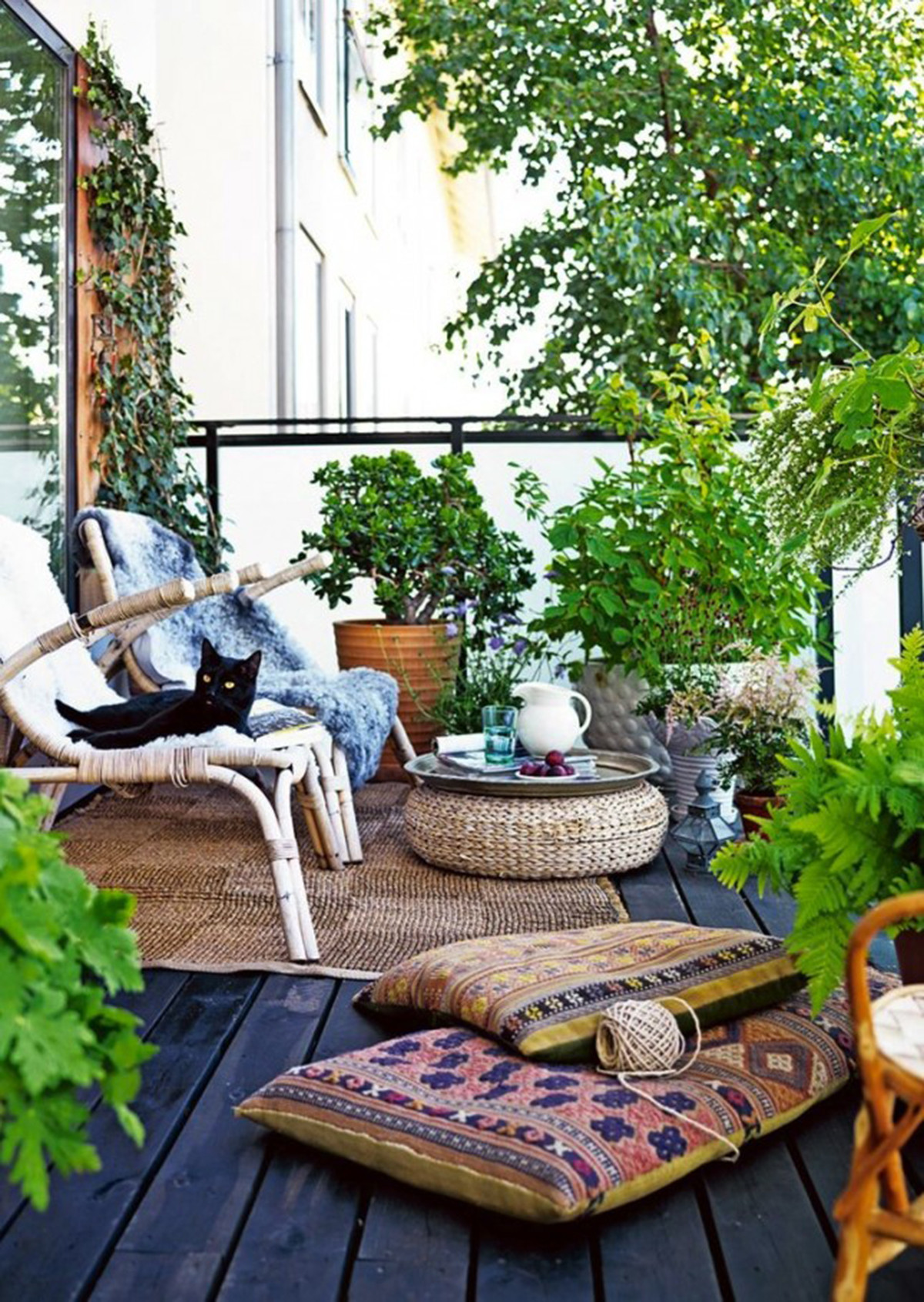 Blooming balcony garden that obscures the space