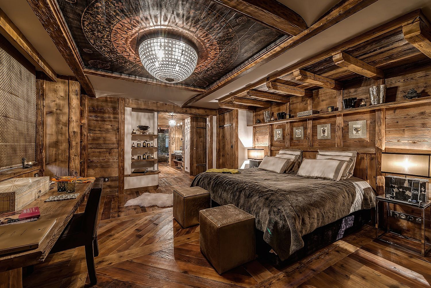 Breathtakingly-beautiful-chandelier-steals-the-show-inside-this-chalet-bedroom