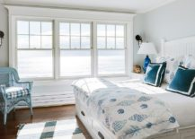 Breezy beach style bedroom with a light gray backdrop and stylish blue accents 217x155 Bright and Trendy: 15 Fabulous Gray and Blue Bedroom Ideas