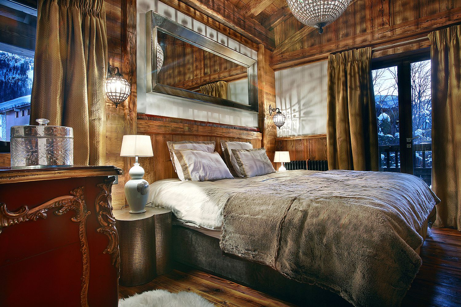 Charming bedroom at the luxury alpine chalet