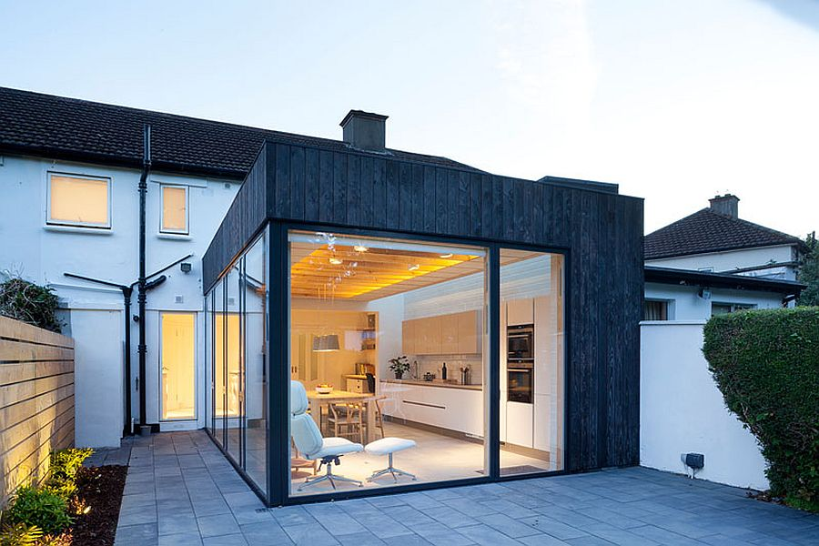Charred timber cladding and glass extension to North Dublin home Copeland Grove: A Tantalizing Timber, Charred Wood and Glass Extension