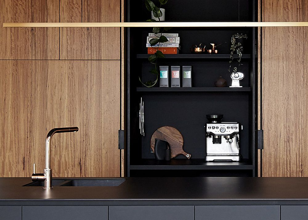 Closer look at the kitchen cabinet in black and wood