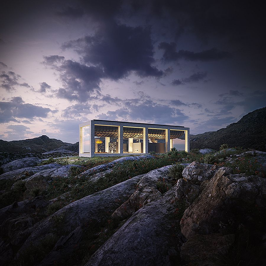 Concrete-and-glass-exterior-of-the-Infinity-House