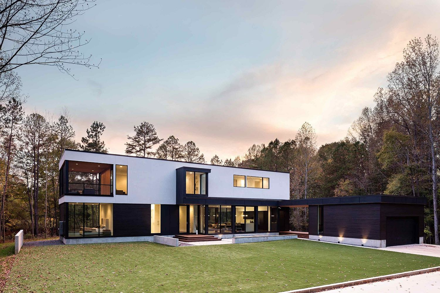 Contemporary home in Matthews surrounded by woodland