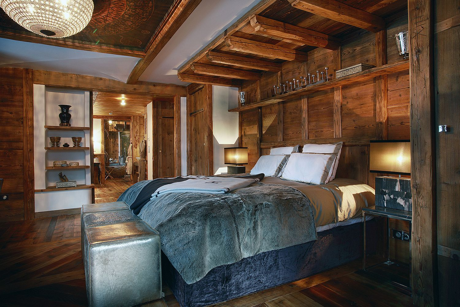 Cozy bedroom of the luxury French chalet in Val d'Isère