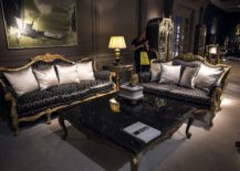 Custom coffee table in black marble and a base clad in gold 217x155 Dark Magic: 20 Dashing Coffee Tables in Black