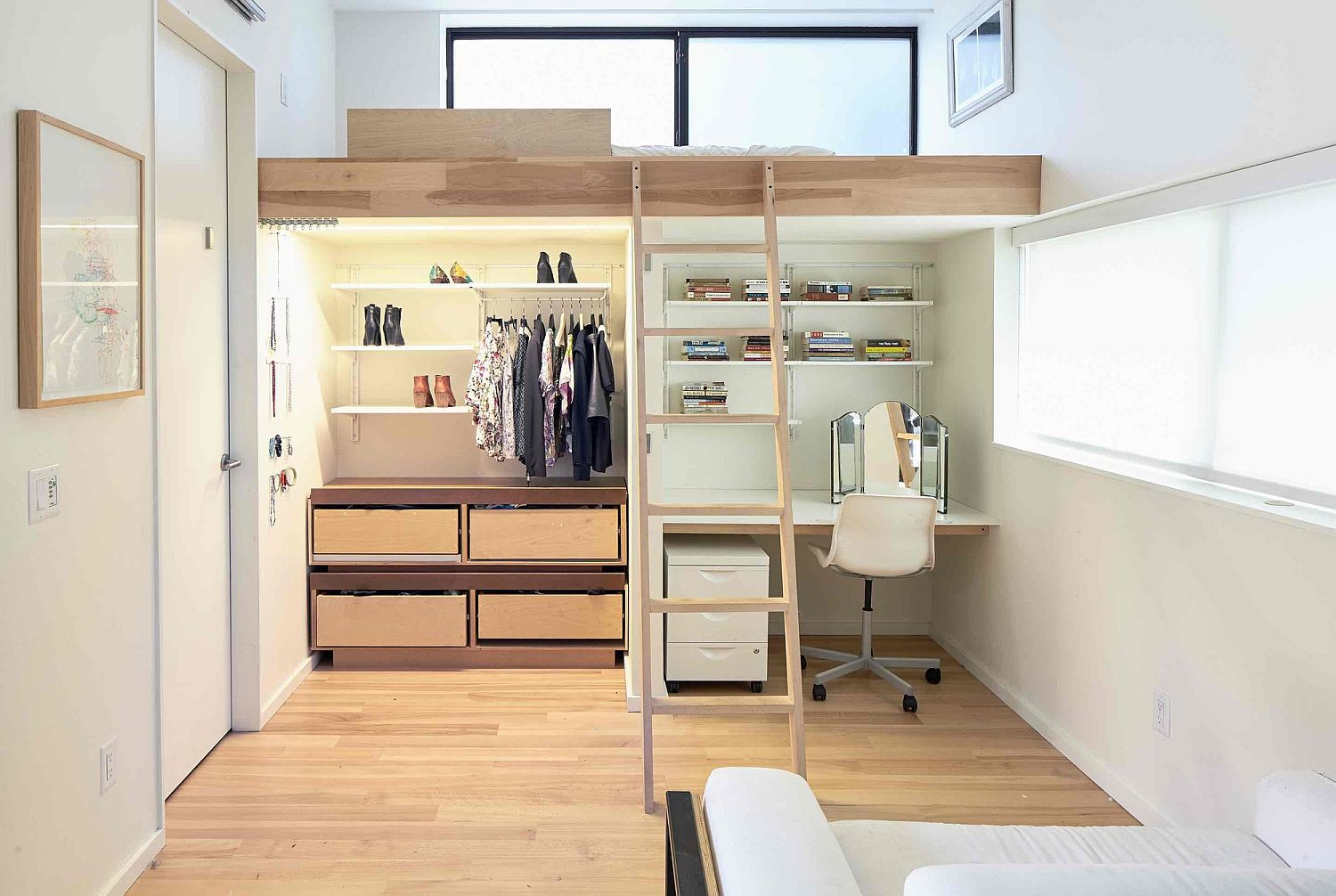 Custom loft bed with study underneath for the kids' bedroom