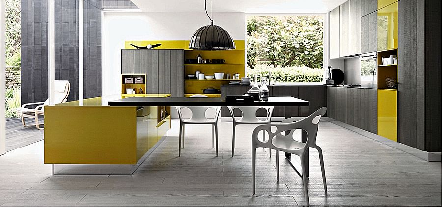 Cutting edge Italian kitchen with a stunning island in yellow