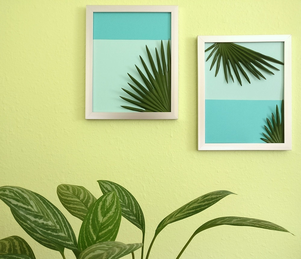 DIY tropical art with palm leaves