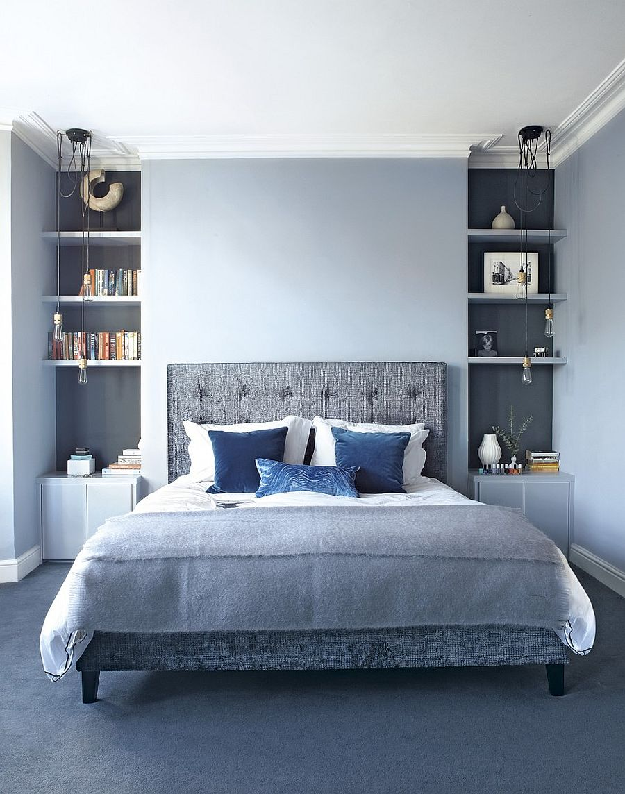 bedroom decor with blue carpet