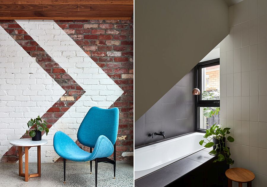 Exposed and painted brick wall inside the modern extension and bathroom in white