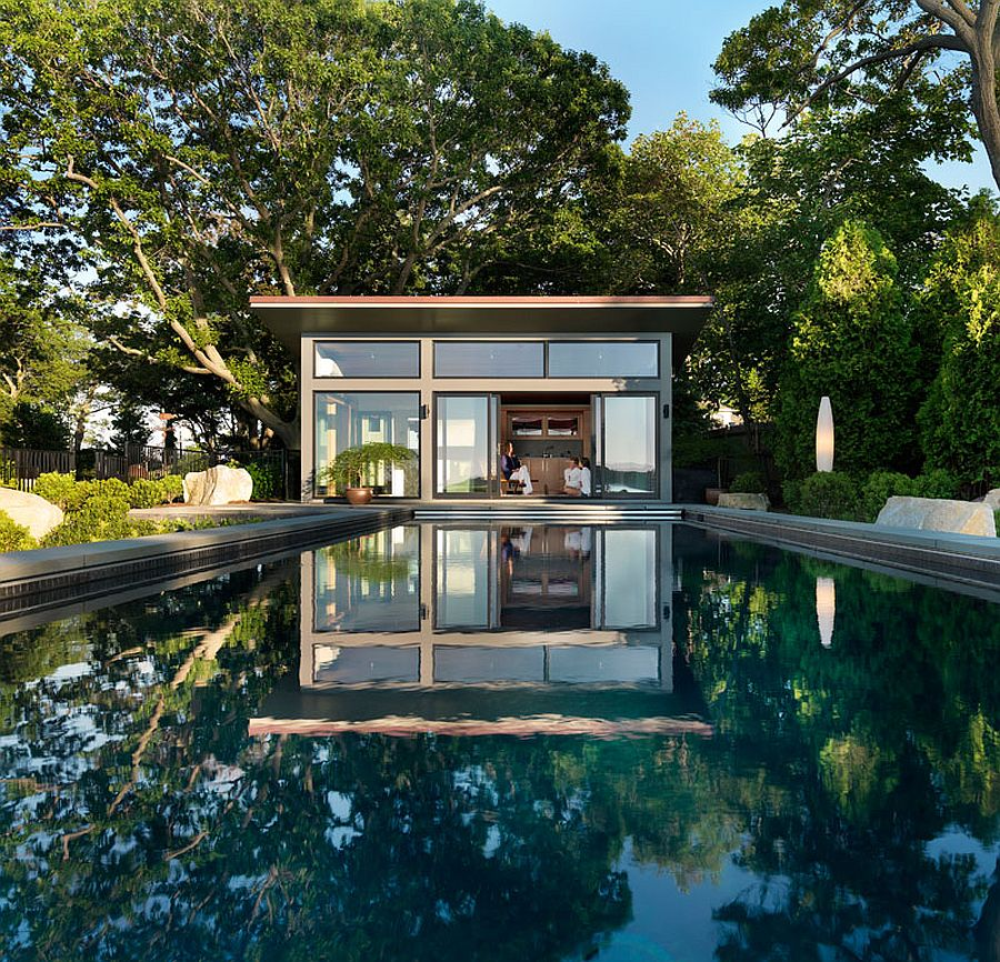 Exquisite guest house and poolside retreat creates the perfect staycation setting Eastern Point Retreat: Modern Guesthouse Overlooks Gloucester Harbor