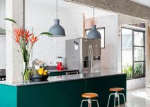 Exquisite kitchen island in Teal inside sophisticated Sao Paulo apartment 217x155 Painting it Bright: 25 Colorful Kitchen Island Ideas to Enliven Your Home
