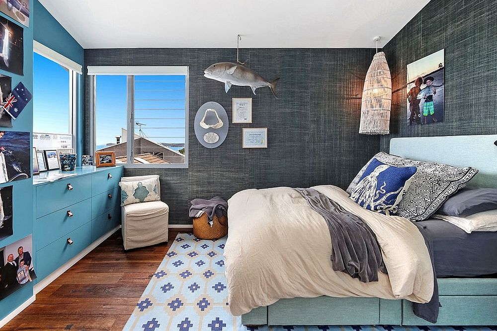 Exquisite tropical style bedroom in vivacious blue and stoic gray