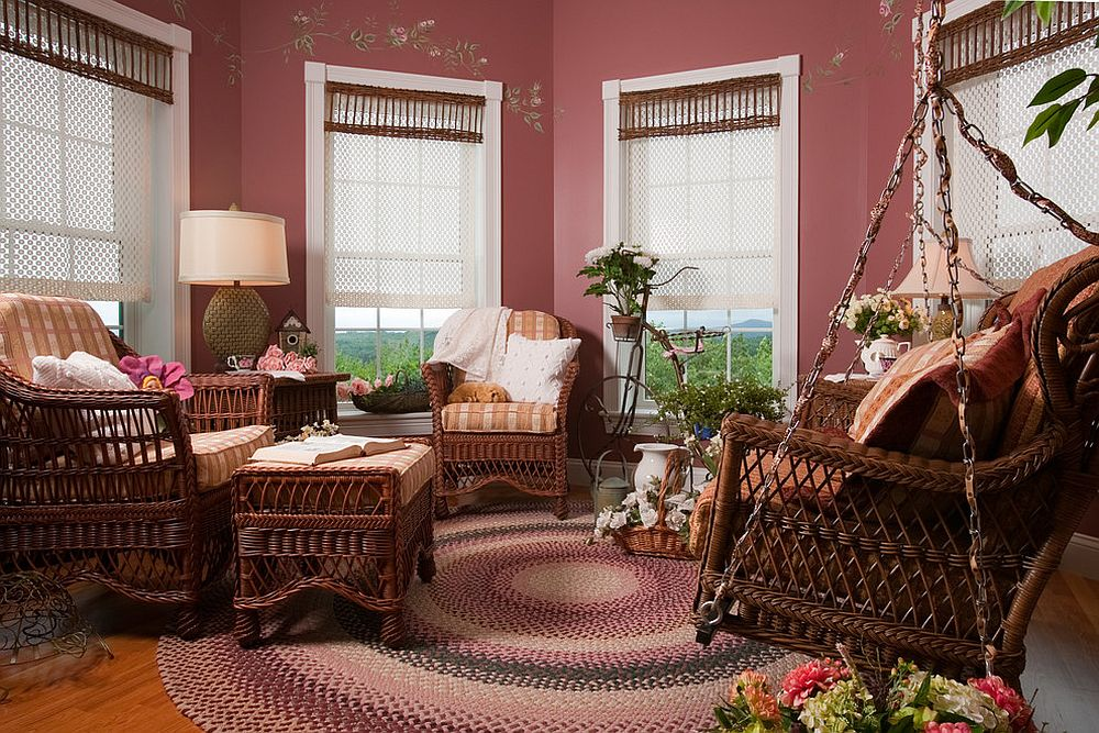 Exquisite use of pink hue in the octagonal sunroom with rustic charm