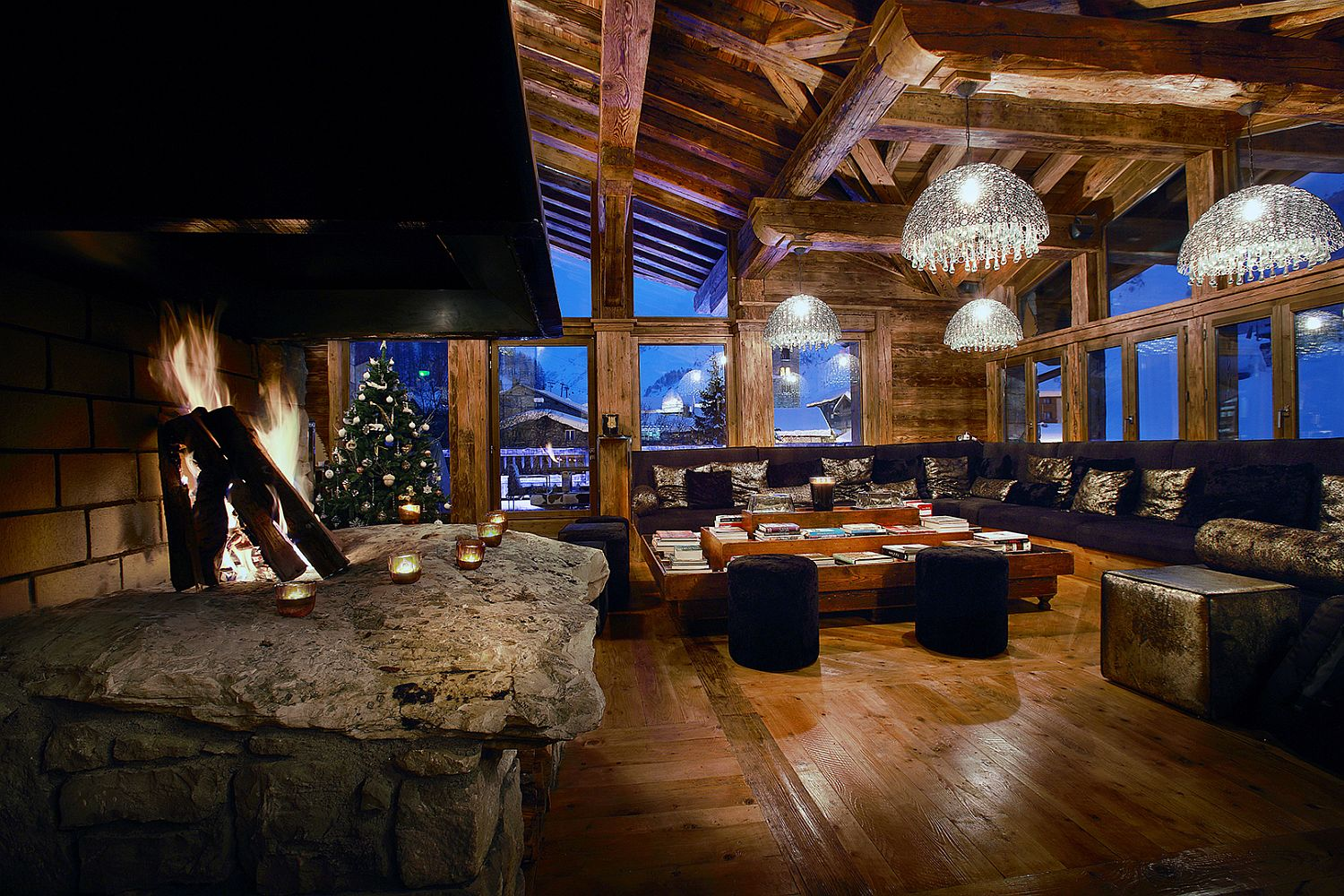 Exquisite fireplace inside spacious living room
