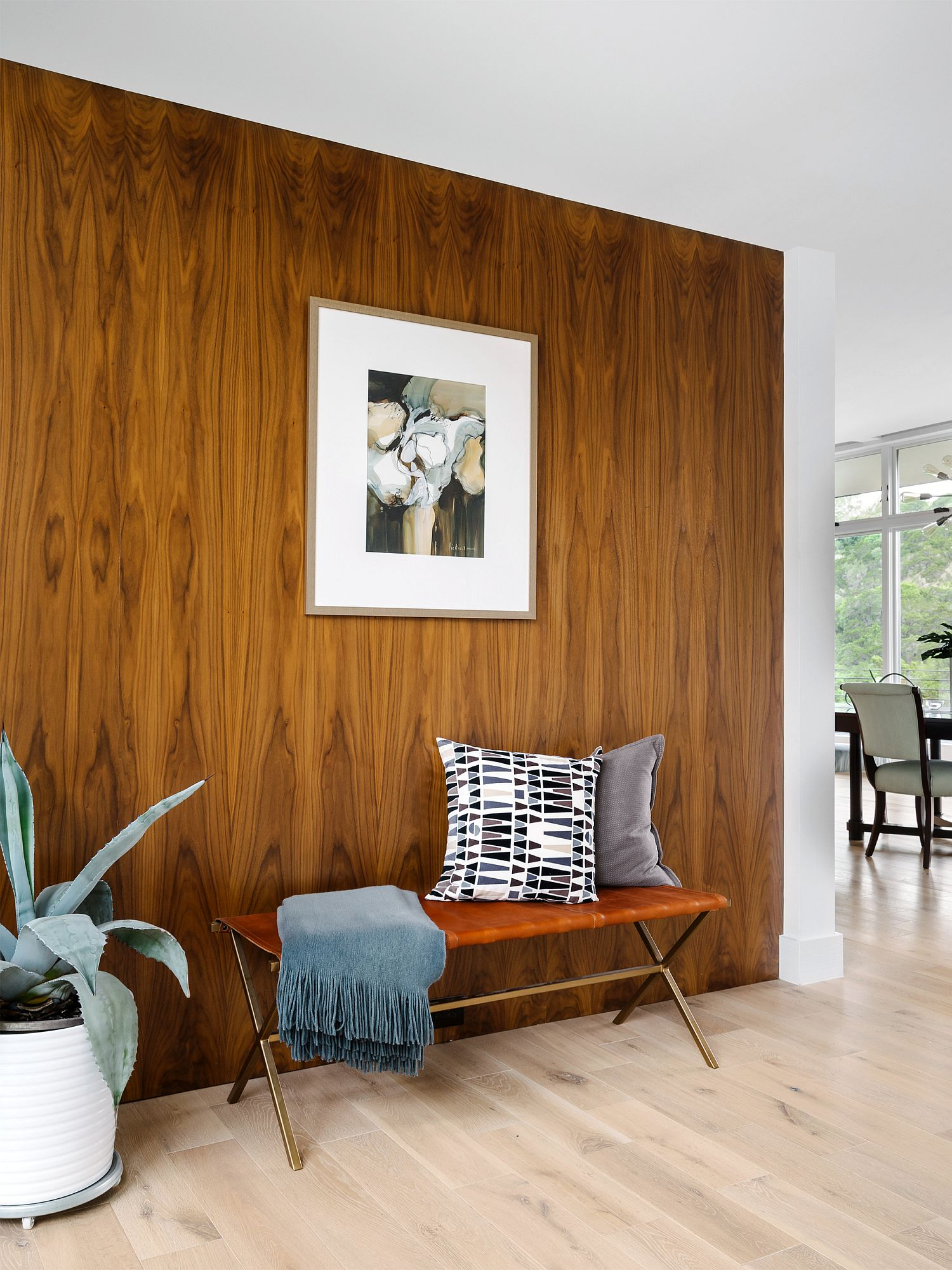 Fabulous wooden accent wall in the living room
