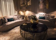 Gold vases bring glitter to the round coffee table in black 217x155 Dark Magic: 20 Dashing Coffee Tables in Black