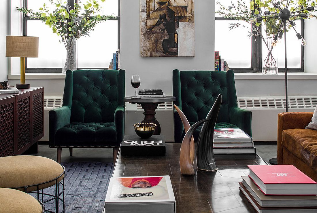 Gorgeous traditional armchairs in green for the eclectic living space