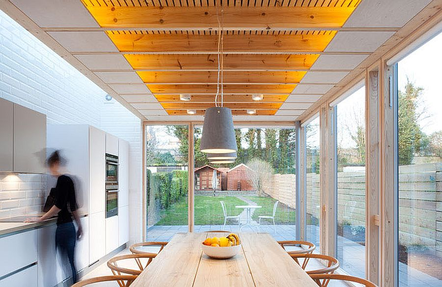 Gorgeous dining area and kitchen with beautiful LED strip lighting