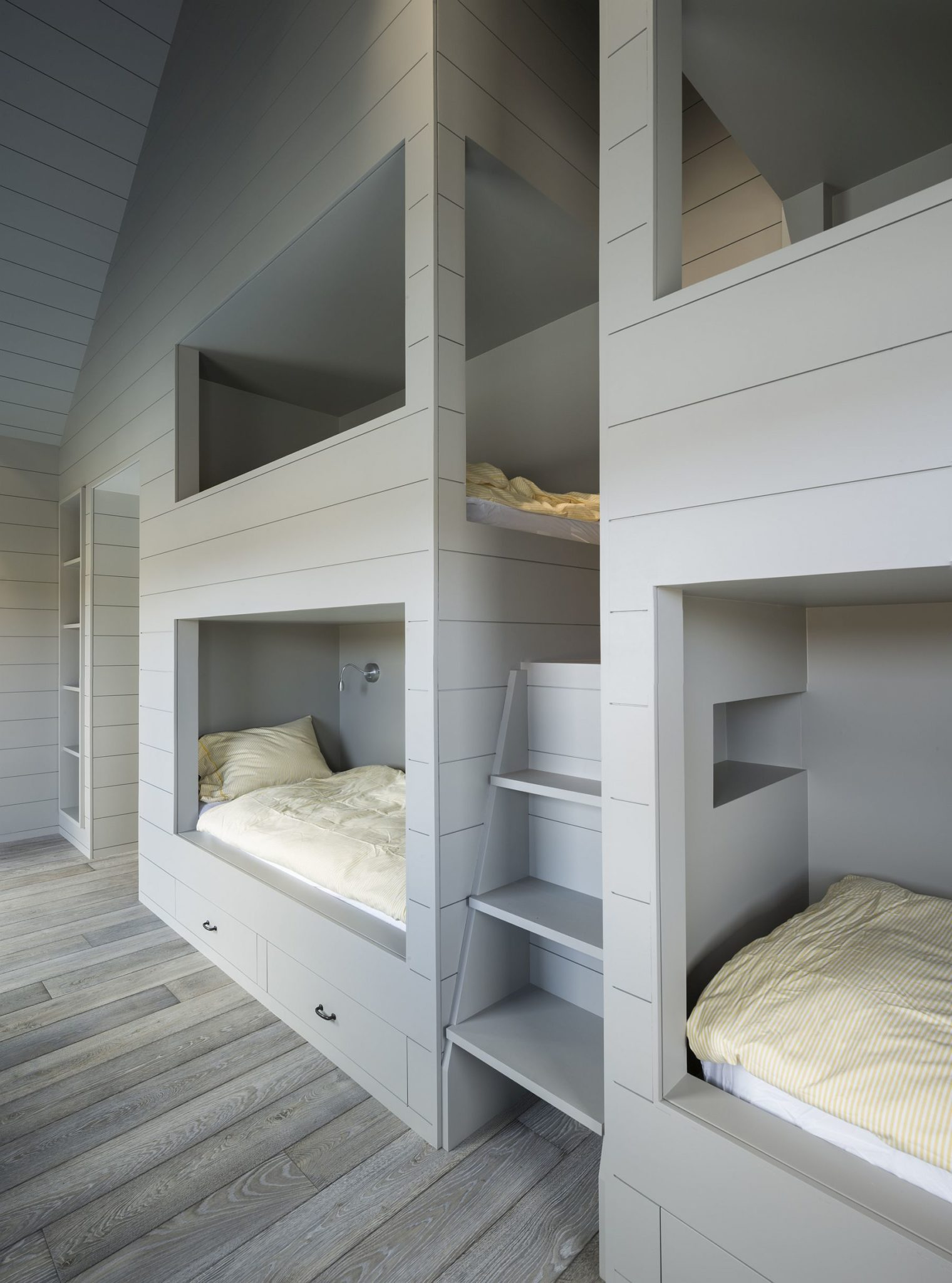 Kids room bunk beds wall in white