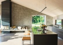 Kitchen with a comfy seat next to the fireplace 217x155 Wood, Cement and Glass Shape Modern Eco Friendly B&B in Veneto