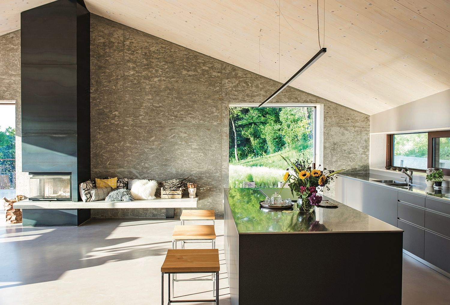 Kitchen-with-a-comfy-seat-next-to-the-fireplace