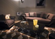 Living room in brown and black with a smart coffee table 217x155 Dark Magic: 20 Dashing Coffee Tables in Black
