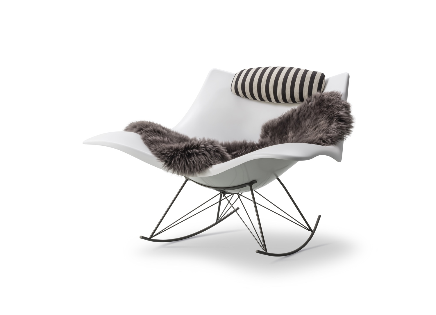 Matt white Stingray & vils fabric cushion