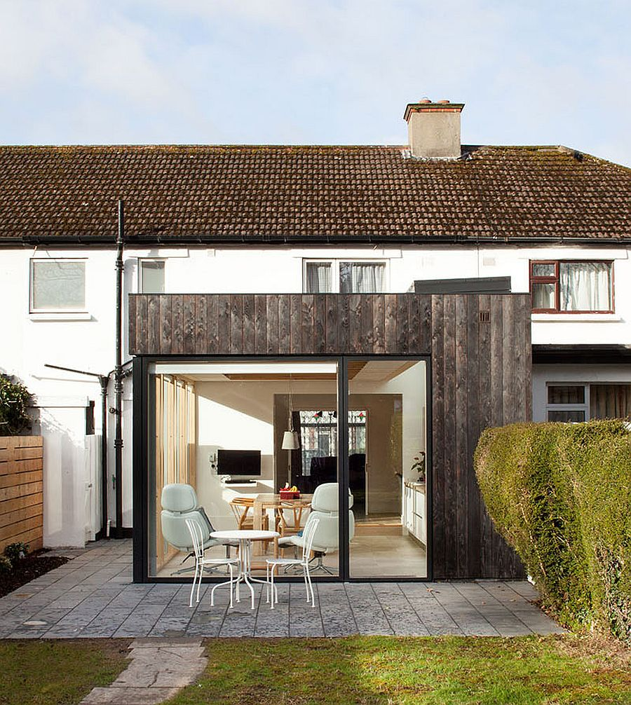 Modern charred timber and glass extension of North Dublin home