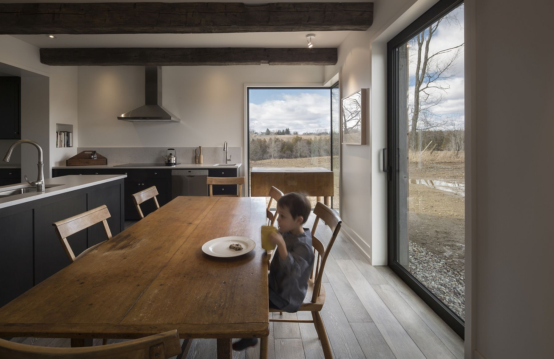 Modern-dining-room-and-kitchen-of-the-farmhouse-with-framed-views