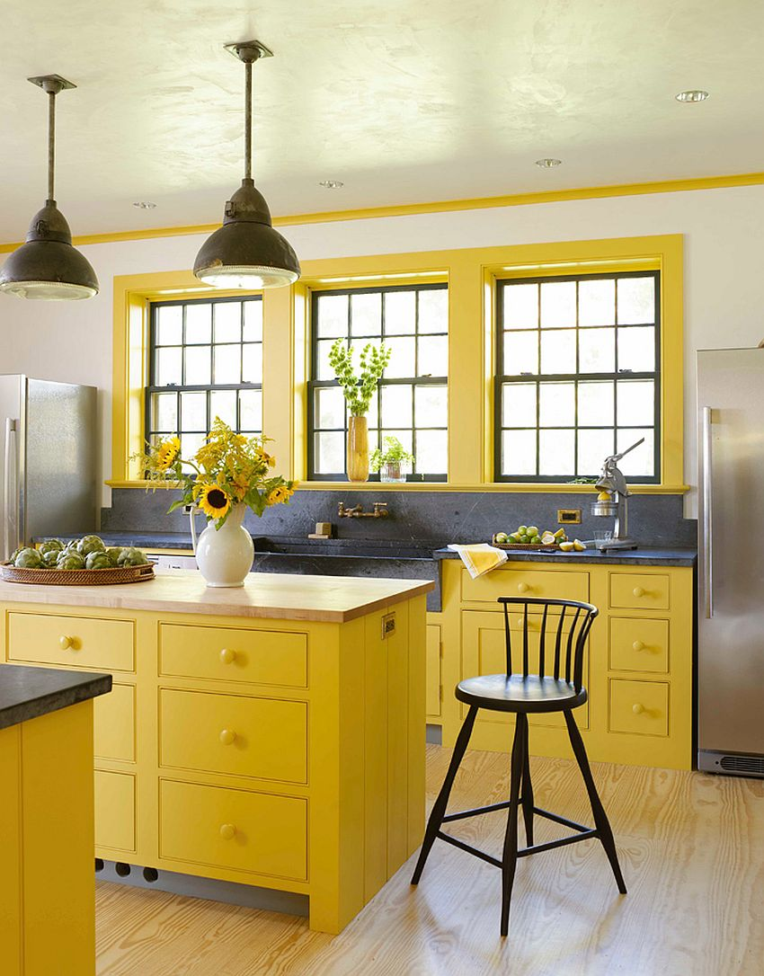 Modern kitchen in yellow, white and gray