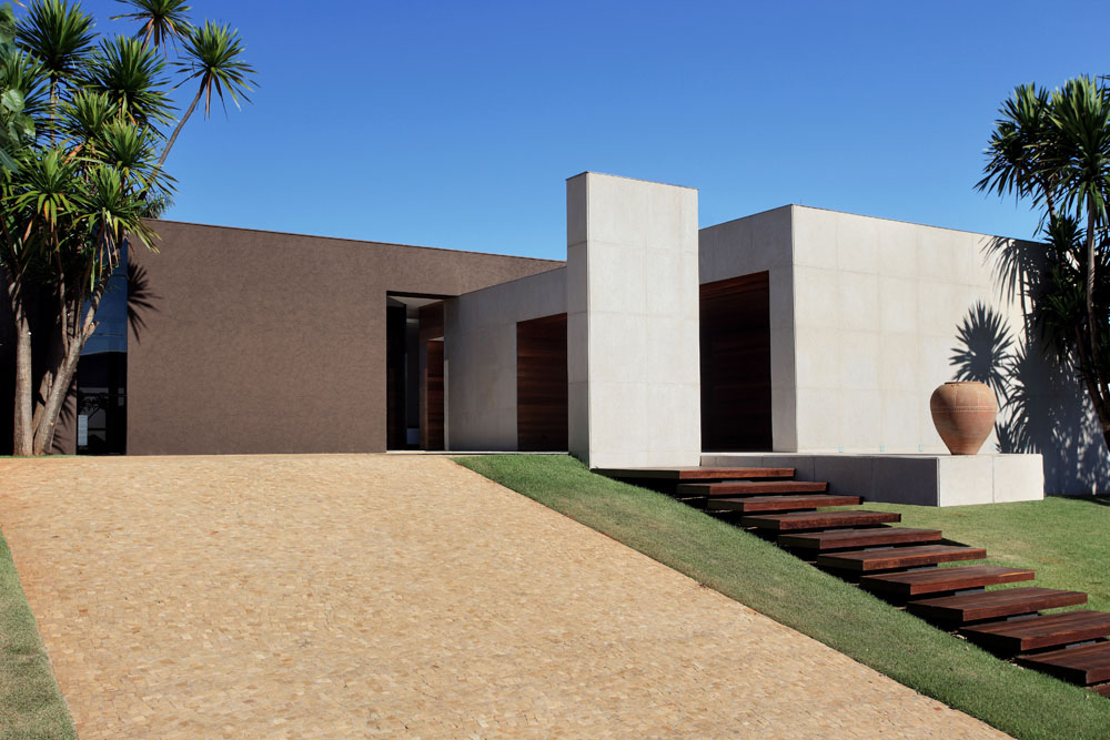 Modern minimalist driveway with a sophisticated look