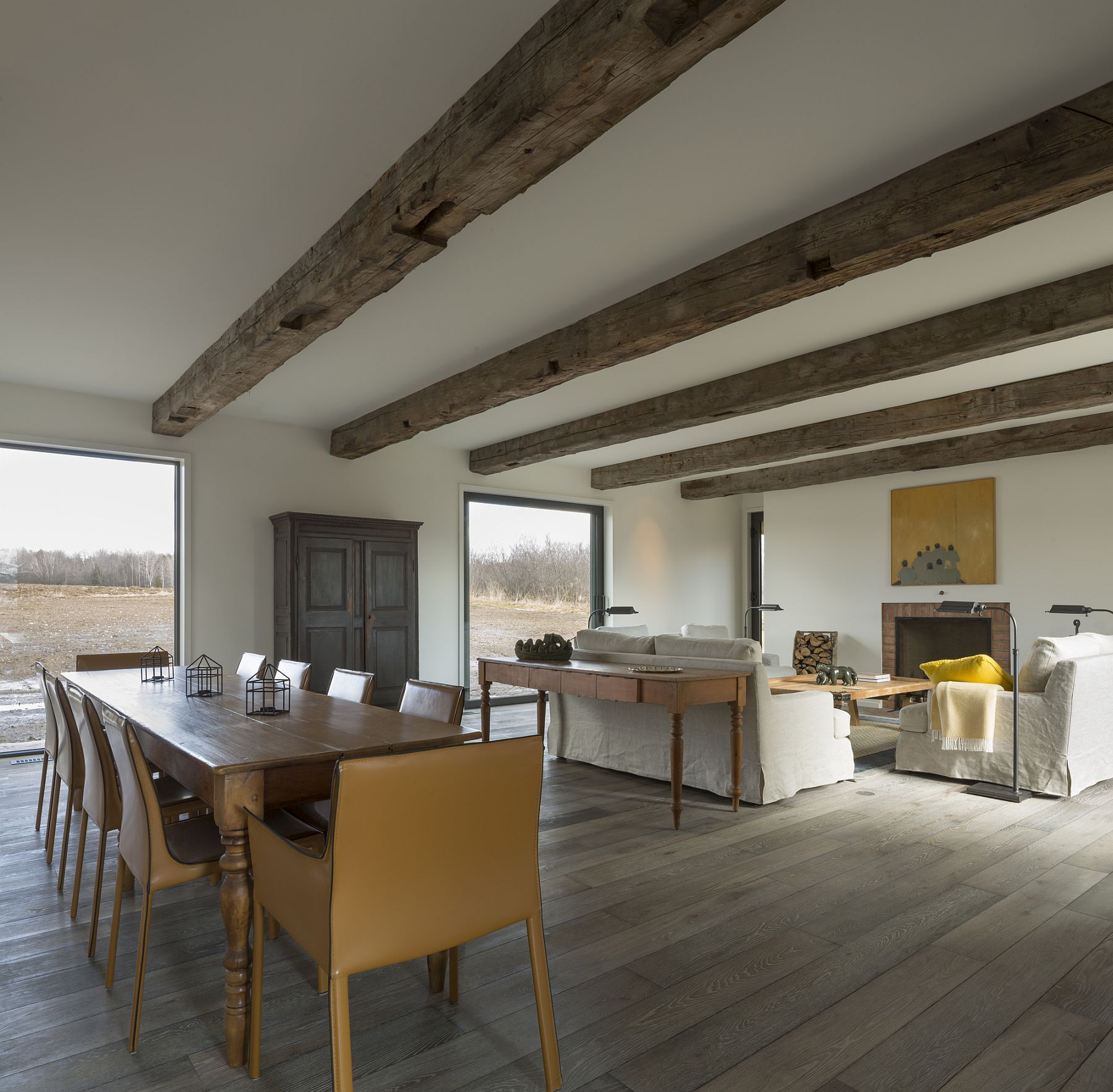 Townships farmhouse in quebec embraces modernity wrapped Barn plans with living area