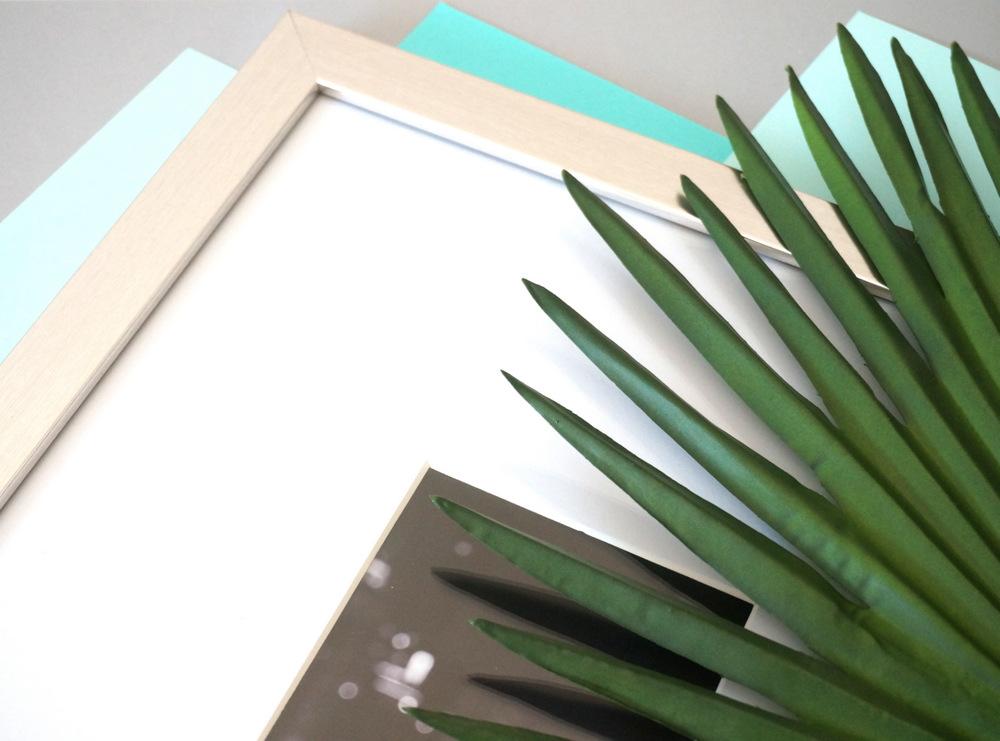 Photo frame and palm leaf