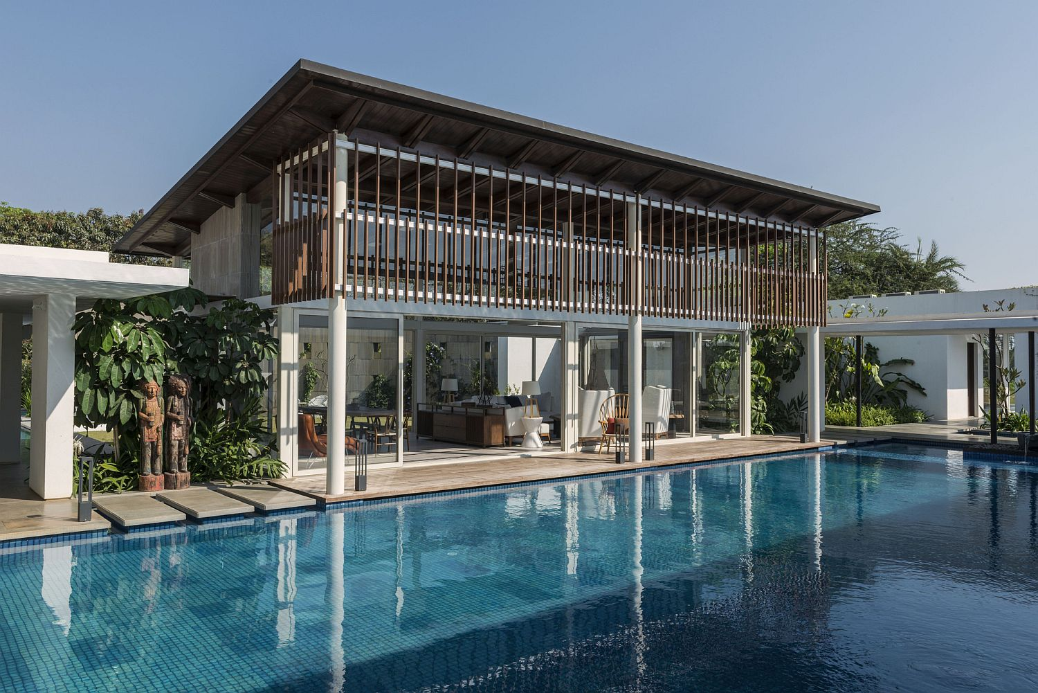 Private courtyard and pool area of the second home in Maharashtra