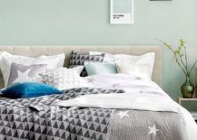 Refreshing-mint-blue-coupled-with-gray-and-geo-accents-in-this-fashionable-bedroom-217x155
