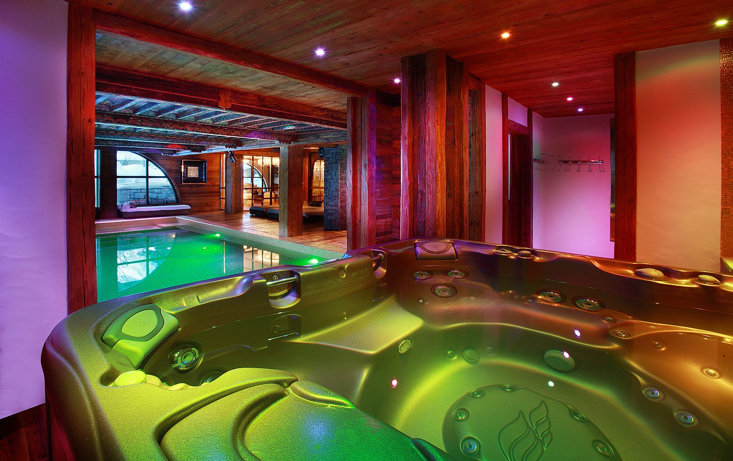 Relaxing spa, Jacuzzi and pool area of one of the best luxury chalets in France