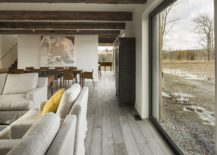 Rustic finishes are coupled with modern decor inside the North Hatley farmhouse 217x155 Townships Farmhouse in Quebec Embraces Modernity Wrapped in Rustic Sheen