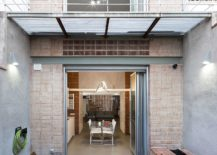 Small and private rear couryard of the Barcelona home 217x155 Old Blacksmith Workshop in Barcelona Transformed into a Light Filled Home
