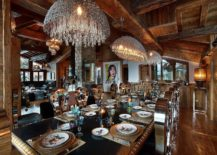 Spacious-dining-area-with-sparkling-chandeliers-217x155